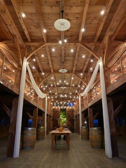 Bistro Lights in Barn