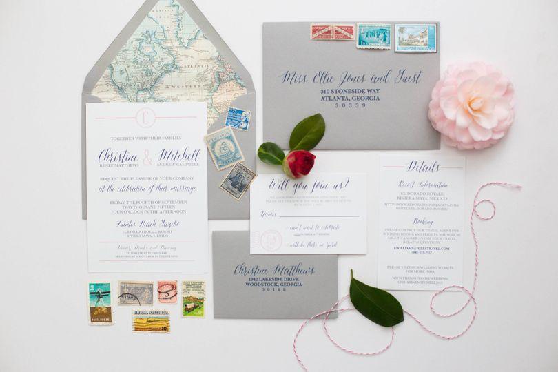 Travel Themed Wedding Invitation Suite