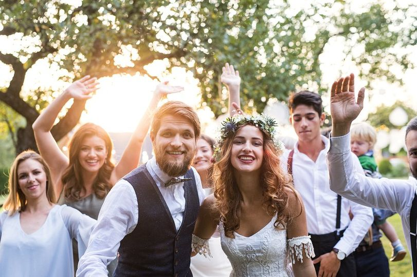 Wedding reception outdoors