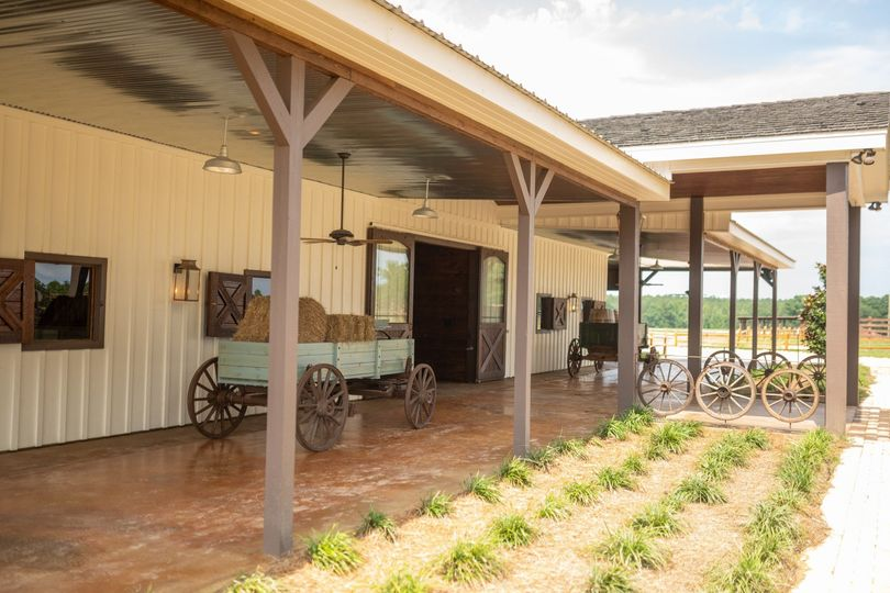 North view of wagons on porch