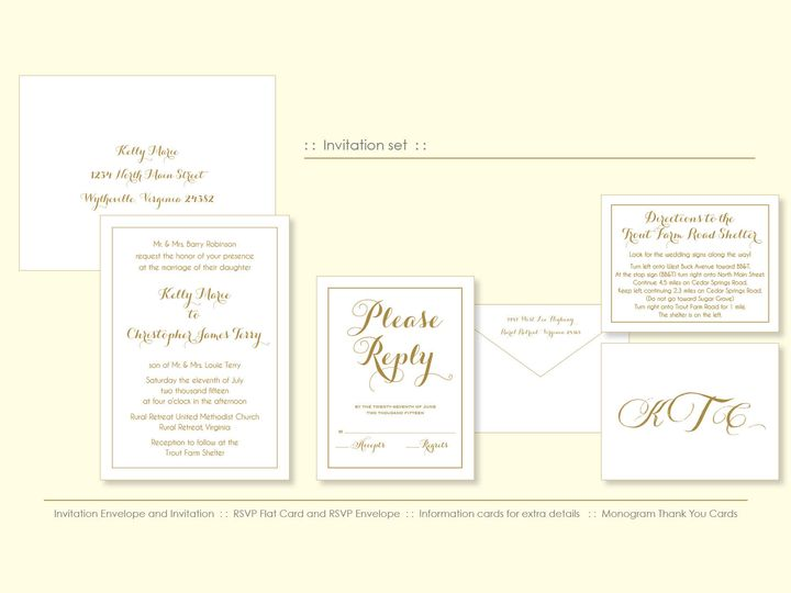 Gold invitation suite for a sweet local Virginia couple.