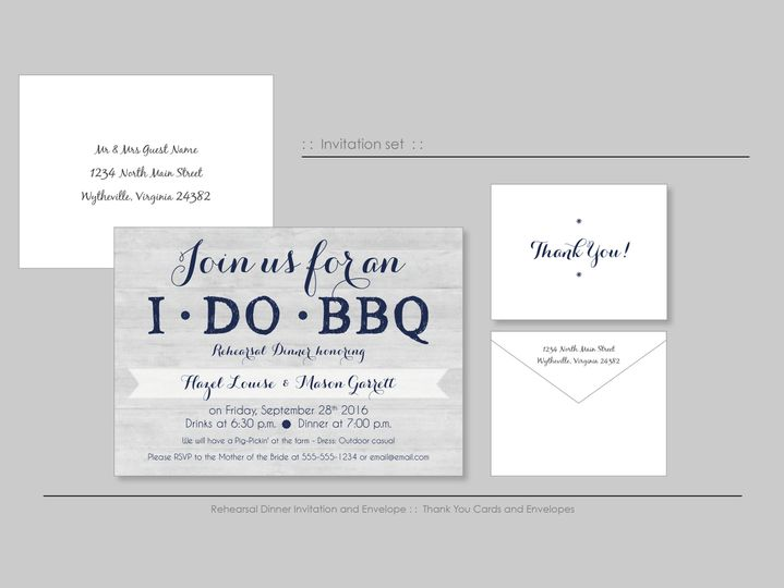 Cute Rehearsal dinner invitations, complete with Thank You notes.