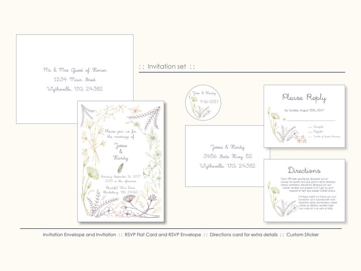 Custom hand drawn wild flowers for a wonderful couple.