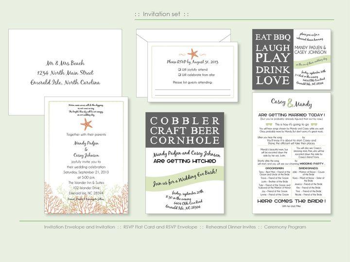 Tmx 1526925703 3d599c7b2e067726 1526925701 92bd8b33296b2e56 1526925698524 2 BeachCoral Wappingers Falls, New York wedding invitation