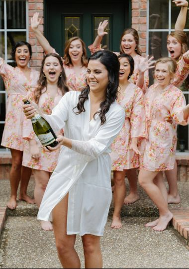 The bride with their bridesmaids