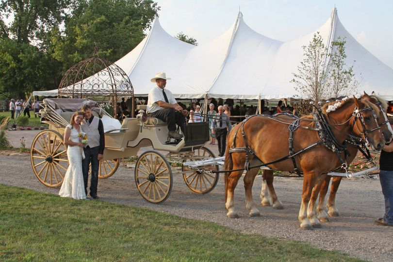 Carriage ride entrance for the Bride