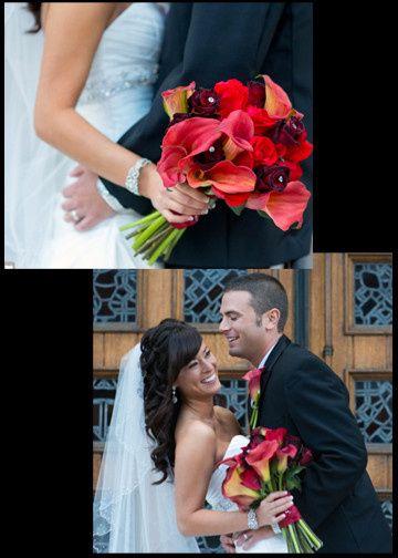 red wedding boquet
