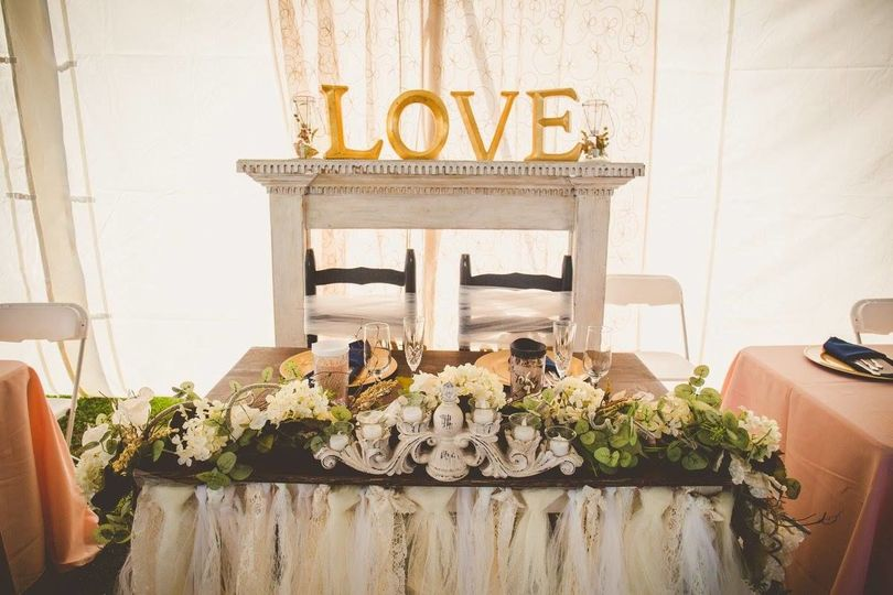 Table setup for the newlyweds