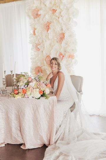 Flower Wall with Bride