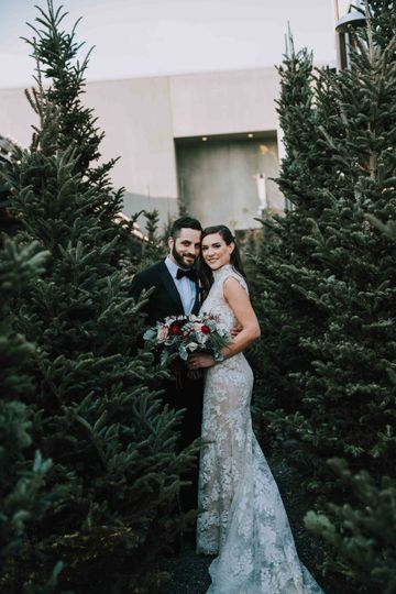 Newlyweds between the trees