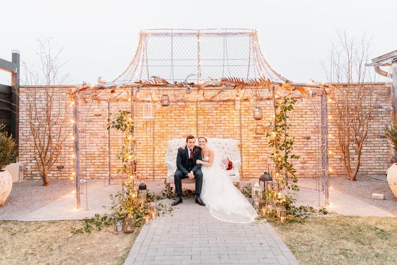 Under the wedding pavilion