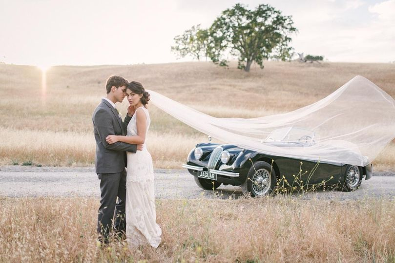 Couple's portrait with their wedding car