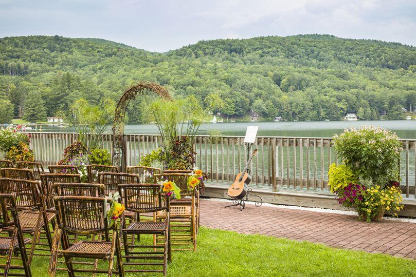 Lakefront patio wedding setup