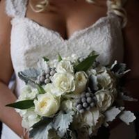 Winter white bouquet with brunia and dusty miller
