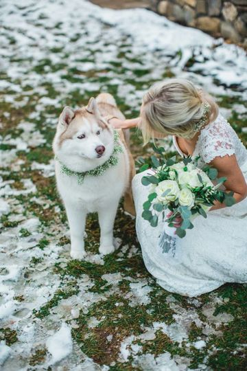 Rustic Green & white bouquet