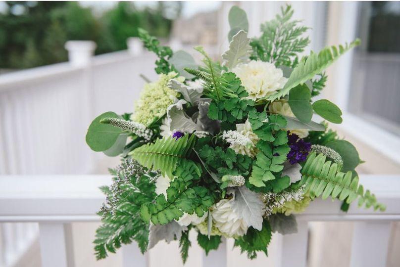 Hydrangea, fern & Dahlias