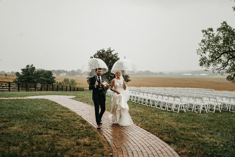 Newlyweds with their umbrellas