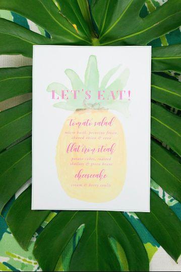 Tropical Wedding Menu