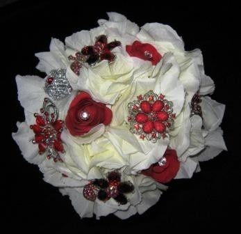 hydrangea red brooches bridal bouquet a