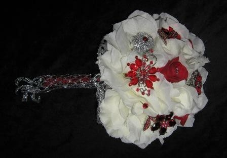 htdrangea red brooches bridal bouquet d