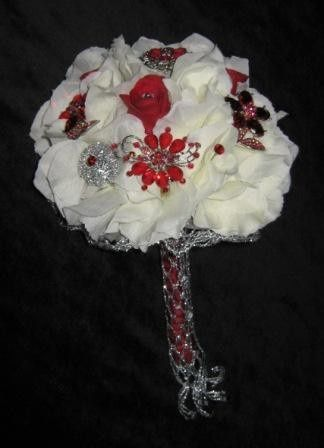 hydrangea red brooches bridal bouquet c