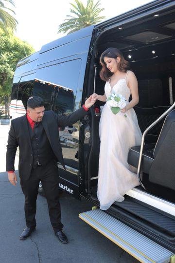 Couple Exiting Limo Sprinter