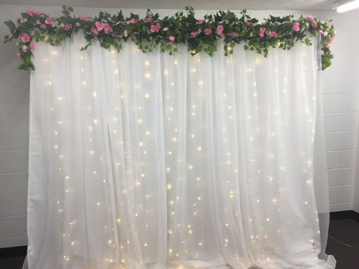 Pink flower garland backdrop