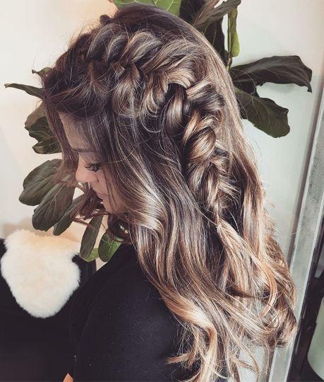 Braided wavy hair