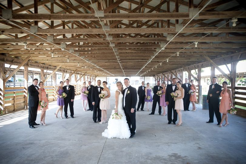 The couple and their bridesmaids and groomsmen