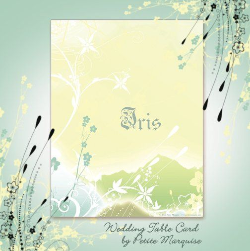 Iris Wedding Table Card from Under The Leaves Collection