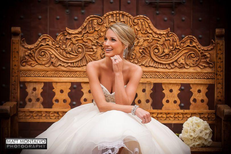 Bride sitting on a throne
