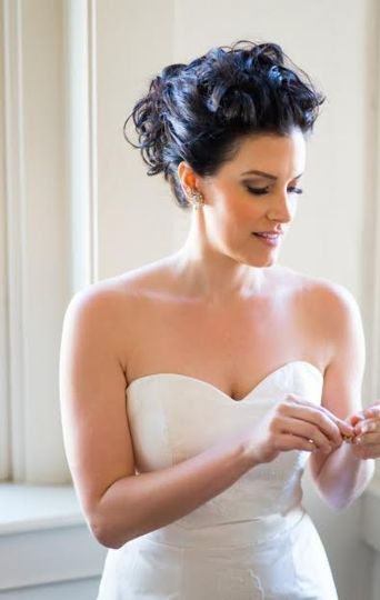 Sweetheart dress and curled updo