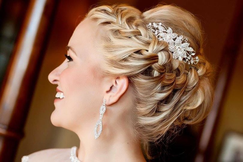 French braided hair with flower hair ornament
