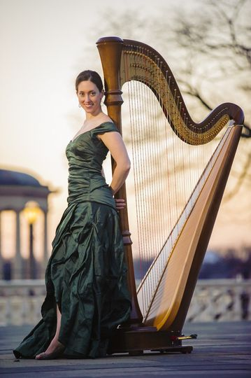 Meghan with the harp