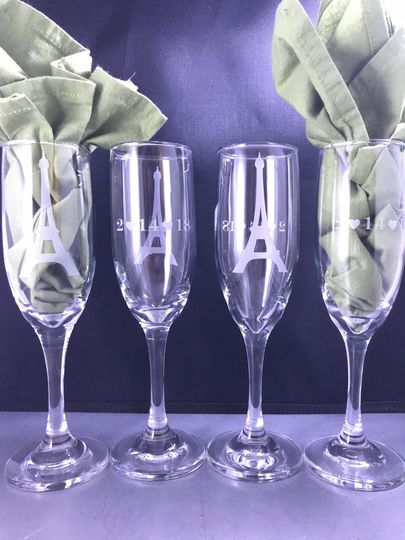 Etched champage glasses