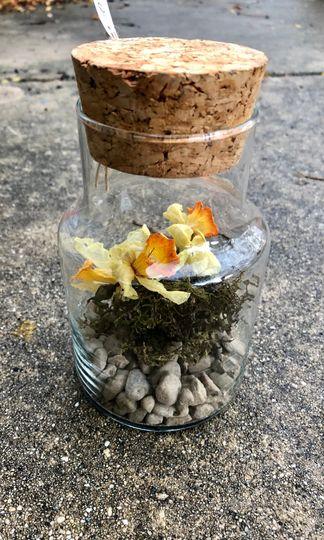 Glass jar of dried flowers