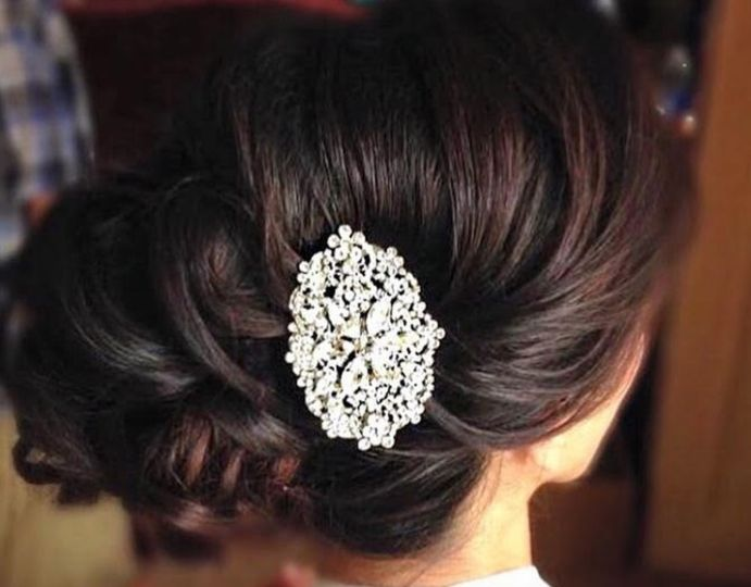 Updo with hair accessory