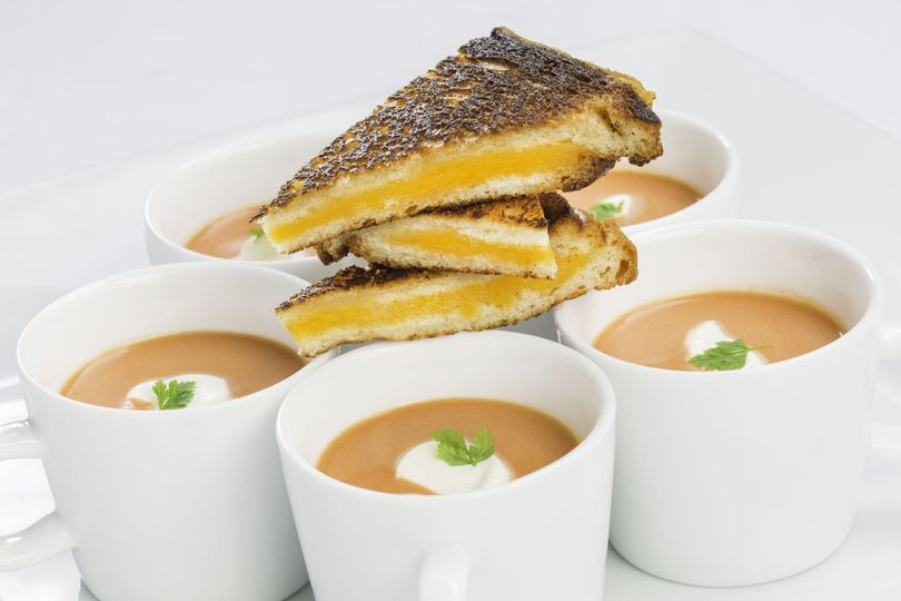 Tomato bisque grilled gouda