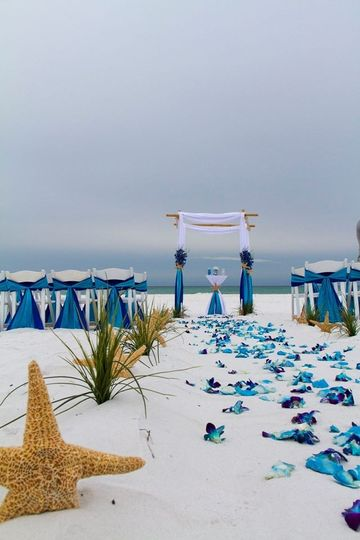 Barefoot Bliss beach wedding package features fresh blue orchids scattered along the smoothed aisle.