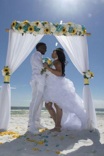 The sun was shining on this sunflower themed beach wedding on beautiful Okaloosa Island