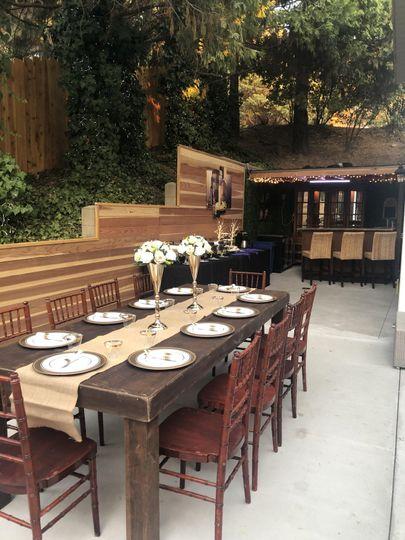 Venue with farm tables