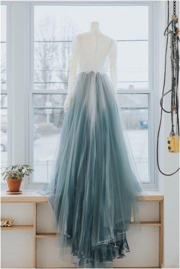Wedding dress with a blue lower half