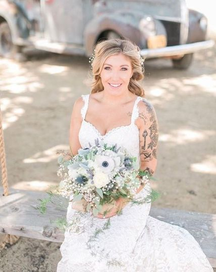 Bride and her bouquet in hand