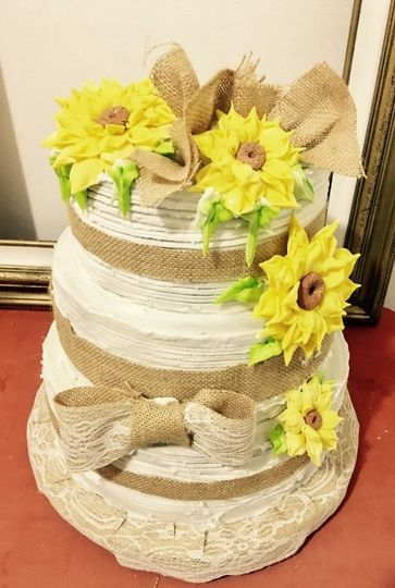 buttercream country wedding cake , sugar flowers