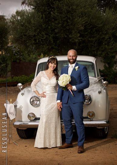 Couple and limo