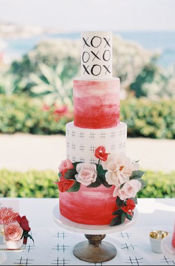 Hand painted pink cake