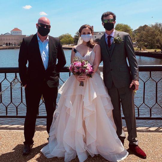 Socially safe bridge wedding