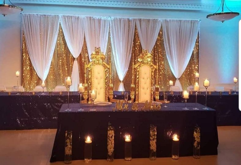 Blue and gold backdrop