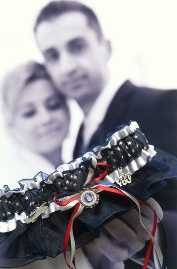US Air Force wedding & toss garters