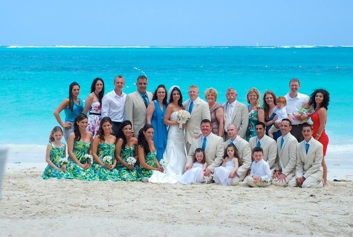 Shane & Darlene after their beach wedding at Beaches Turks & Caicos, surrounded by their loved ones.